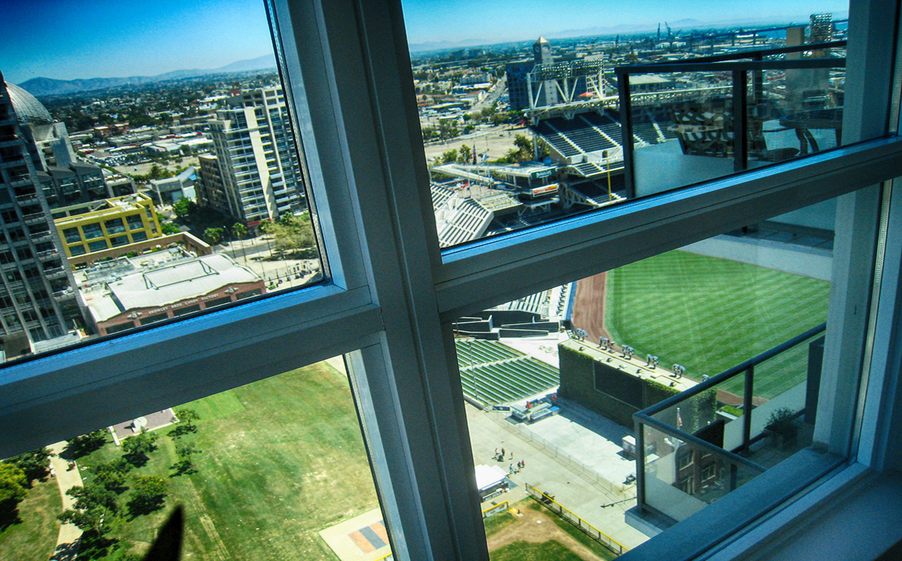 The Legend - 325 7th Ave #1901, San Diego, CA 92101 (Peak view to the Ball Park from Master Bedroom)